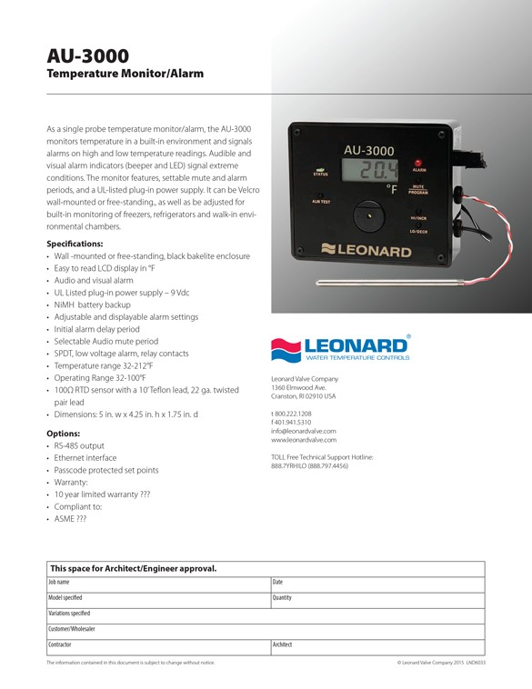Leonard Specification Sheet